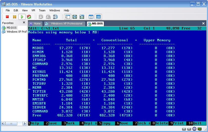 В памяти нашей виртуальной MS-DOS машины висят следующие процессы.